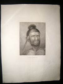 Webber 1785 LG Folio Antique Print. A Man of Mangea, Pacific Cook Islands